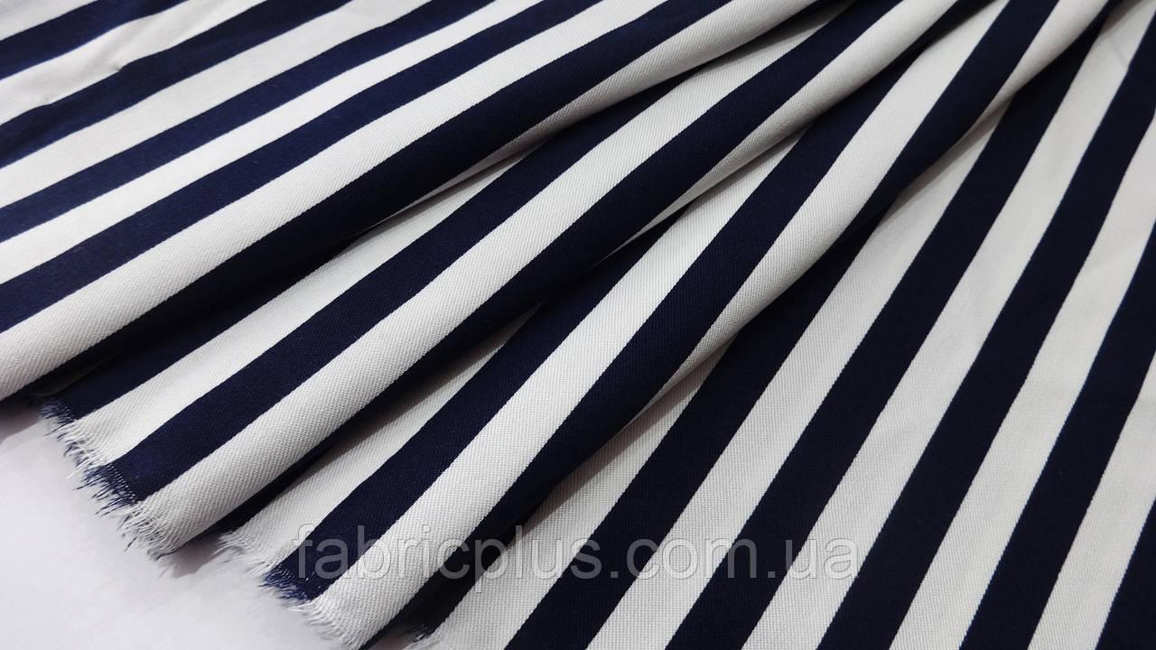 Штапель темно-синяя полоска 130 см