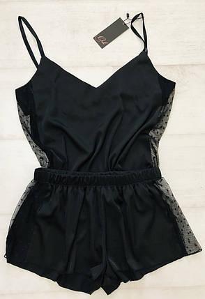 Черная шелковая пижама майка и шортики ТМ Orli, фото 2