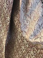 Шторы розовопудровые с золотым узором в зал,спальню