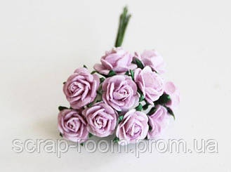 Роза мини сиреневая диаметр 1 см, роза светло-сиреневая, бумажная роза сиреневая 1 см, Таиланд, цена за 1 шт