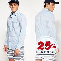 Голубая мужская рубашка De Facto / Де Факто с накладным карманами на груди, фото 1