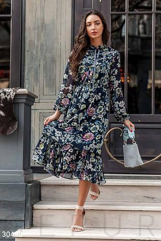 e035e9c83b4 Летнее платье-миди из шифона цветочный принт синий - купить по ...