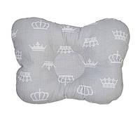 Подушка бабочка для новорожденных DavLu Короны 30х22 см серый (P-044)