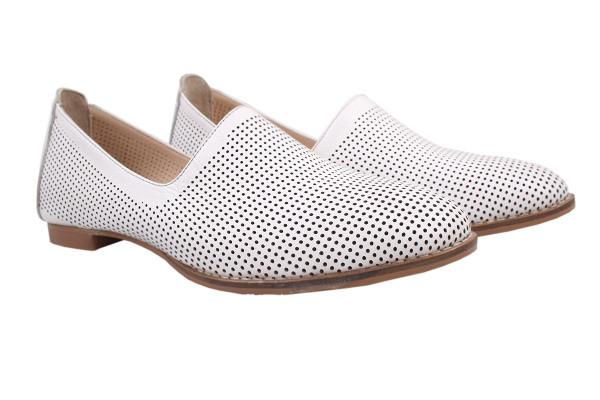 Туфли комфорт женские летние на низком ходу Gossi Турция натуральная кожа, цвет белый