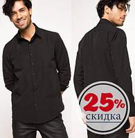 Черная мужская рубашка De Facto / Де Факто с черными пуговицами, фото 1