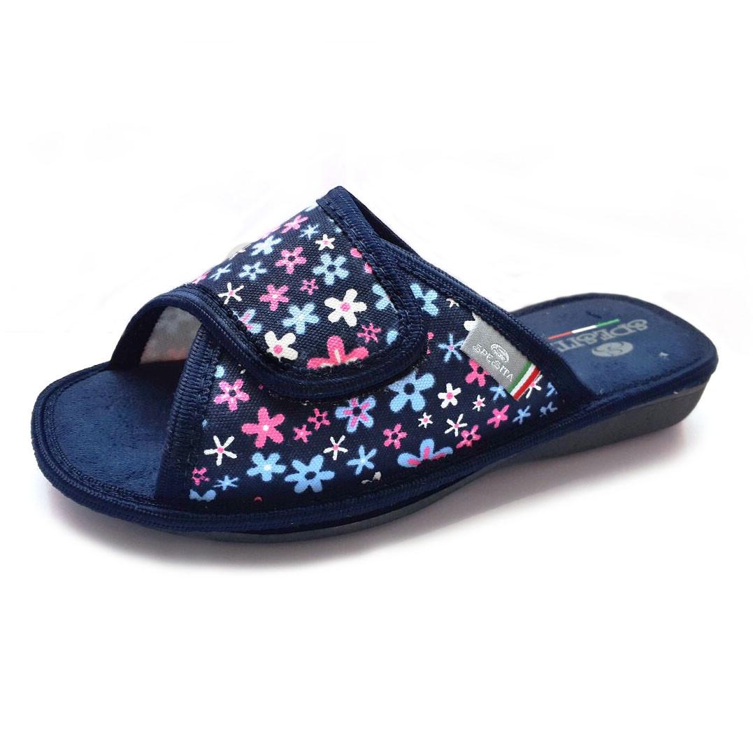69906ea743279 Женские тапочки с открытым носком, регулируемый верх на липучке, синий  цвет, размеры 35-40 / 36-41