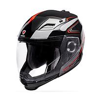 Мотошлем ISPIDO ARSEN черный/красний/серий (со съемной бородой) размер M