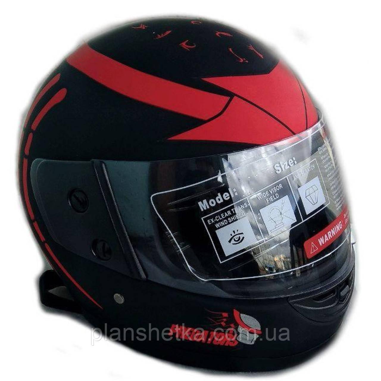 Шлем для мотоцикла F2 черный мат с красным рисунком Predators (model 504)
