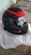Шлем для мотоцикла F2 черный мат с красным рисунком Predators (model 504), фото 2