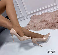 Женские туфли  лодочки бежевые  классика каблук 10,5 см