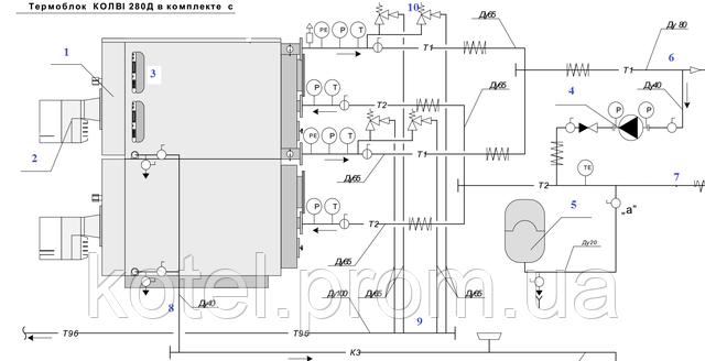 Гидравлическая монтажная схема термоблока Колви 280 Д