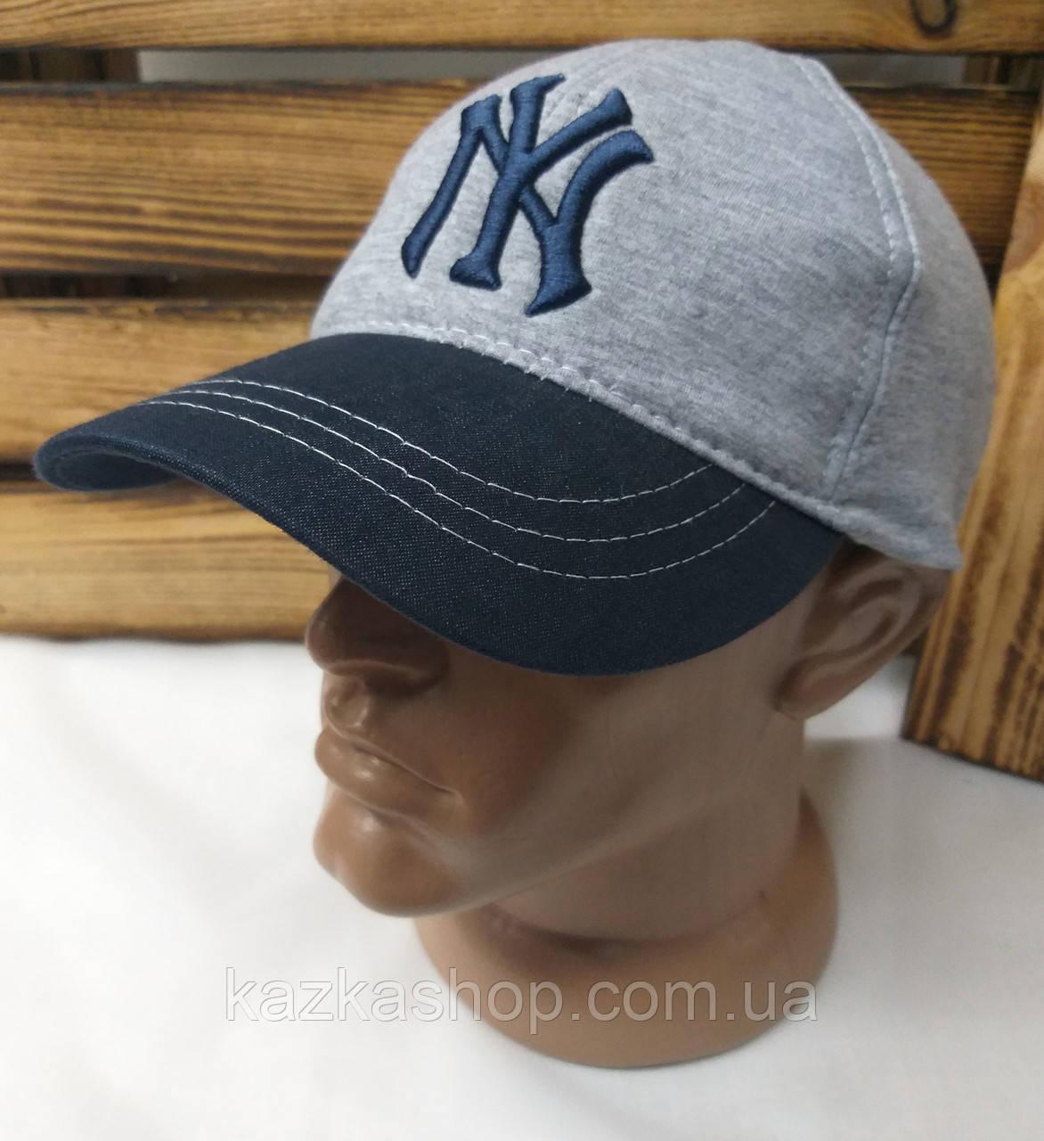 Мужская кепка New York серого цвета материал трикотаж сезон весна-лето большая вышивка с регулятором
