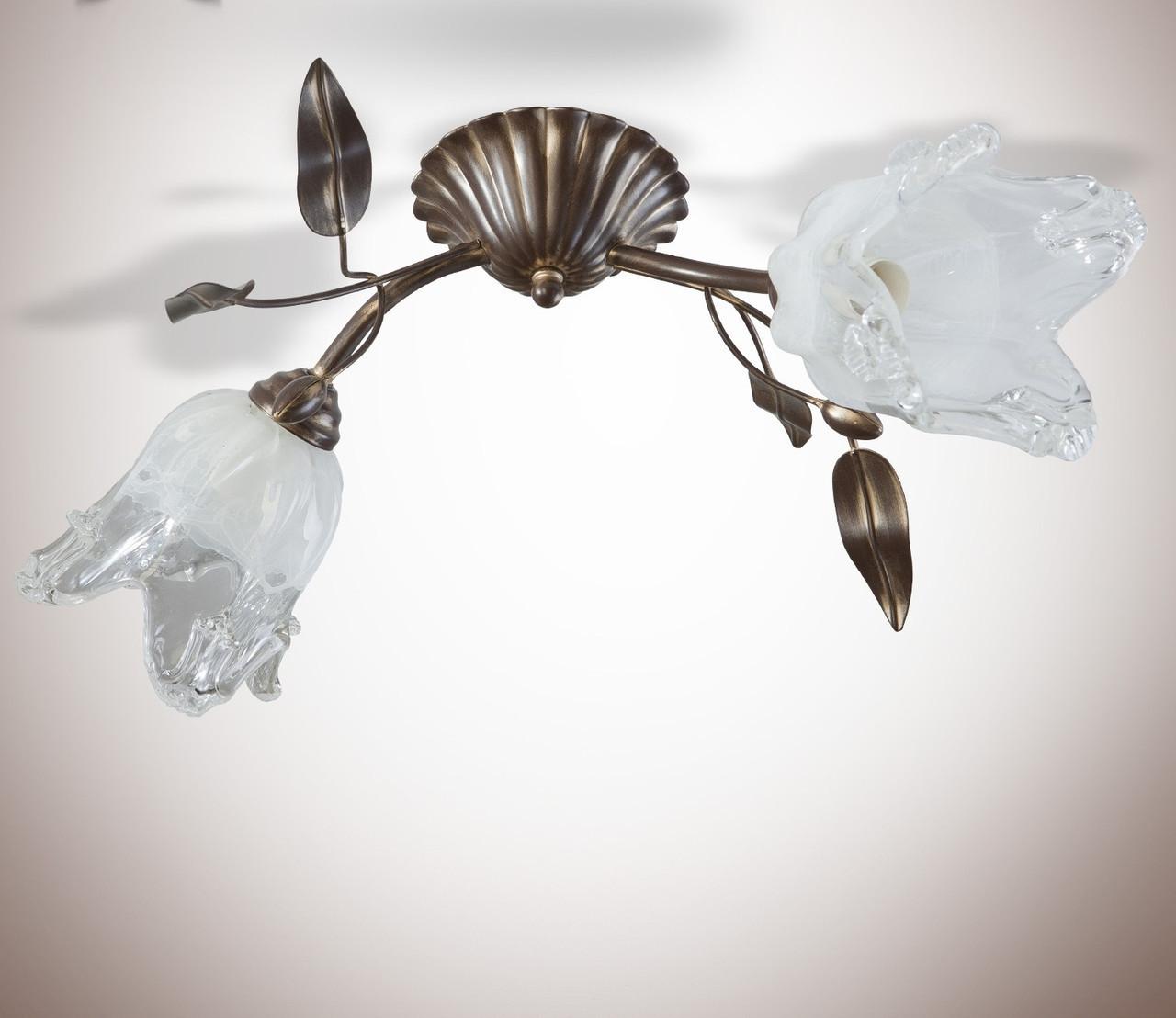 Люстра металлическая двухламповая флористика 11422