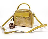 Женская кожаная Желтая сумка с Лазерного замша, фото 1
