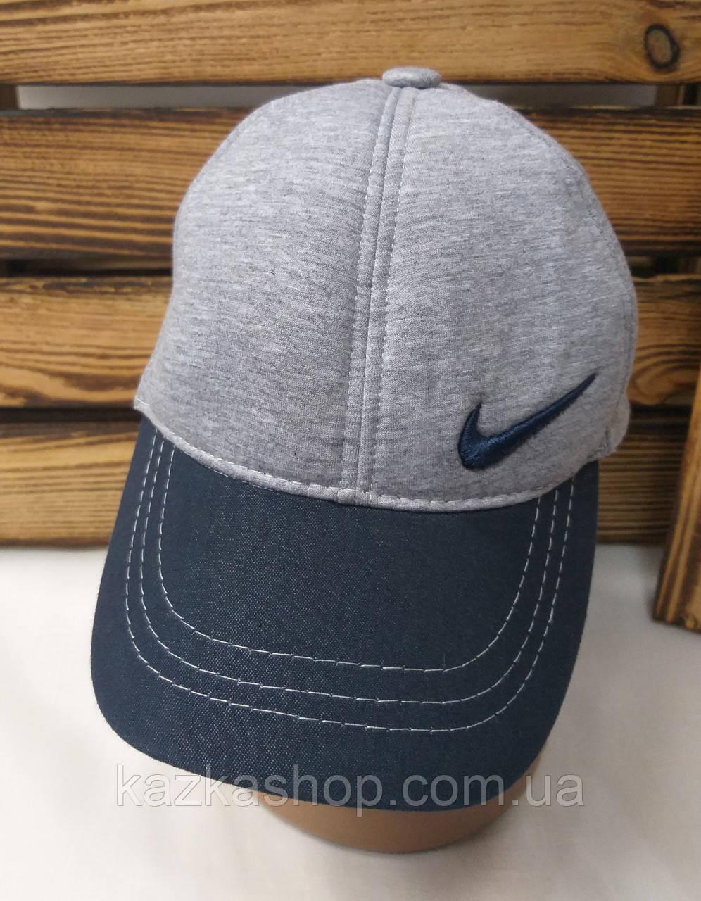 Мужская кепка в стиле Nike (реплика), серого цвета, трикотаж сезон весна-лето малая вышивка с регулятором