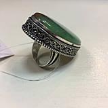 Крупное кольцо хризопраз в серебре, овальное кольцо с хризопразом 17,5-18 размер Индия!, фото 7