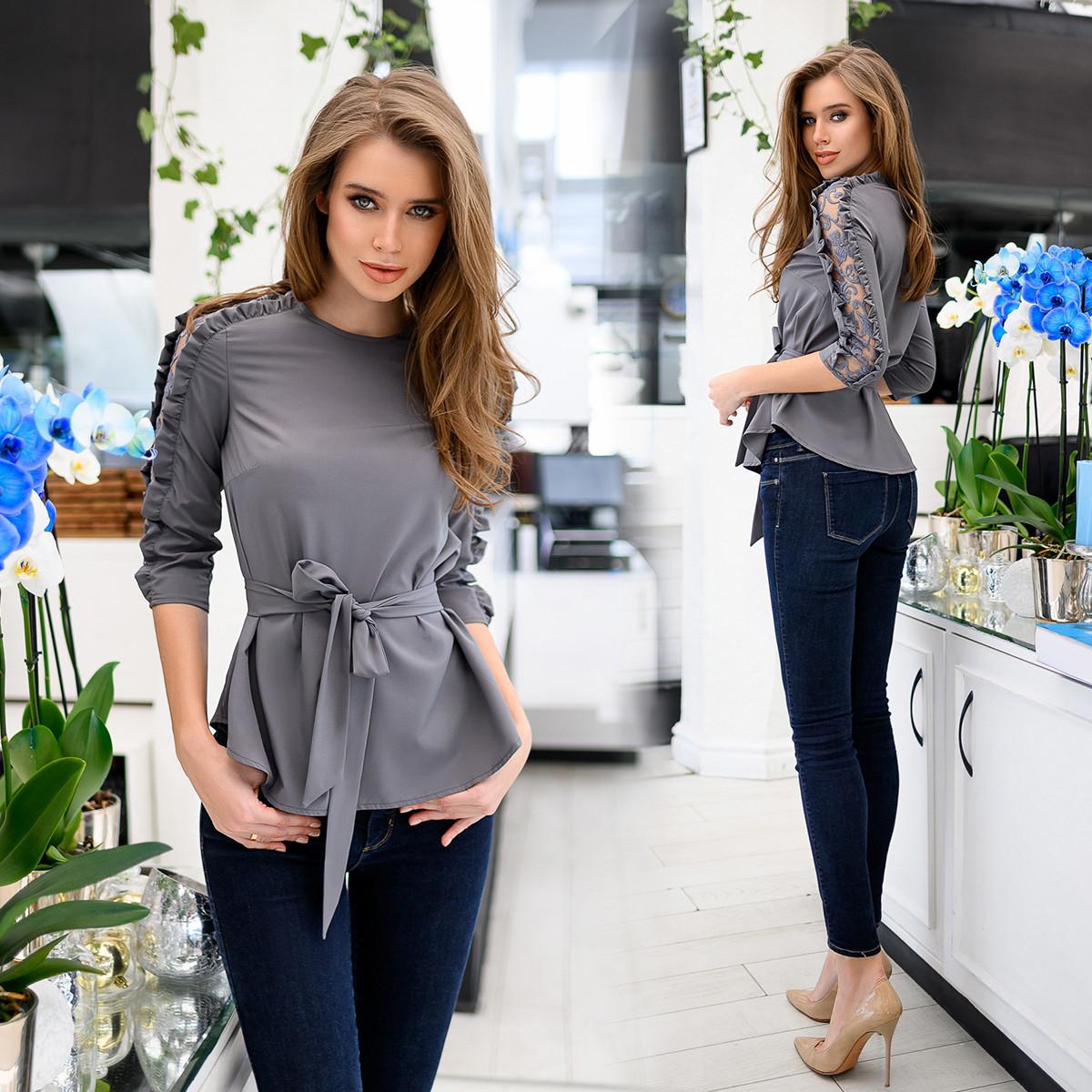 """Элегантная нарядная женская блузка до больших размеров 41232 """"Софт Рукава Рюши Кружево Вышивка"""" в расцветках"""