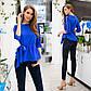 """Элегантная нарядная женская блузка до больших размеров 41232 """"Софт Рукава Рюши Кружево Вышивка"""" в расцветках, фото 3"""
