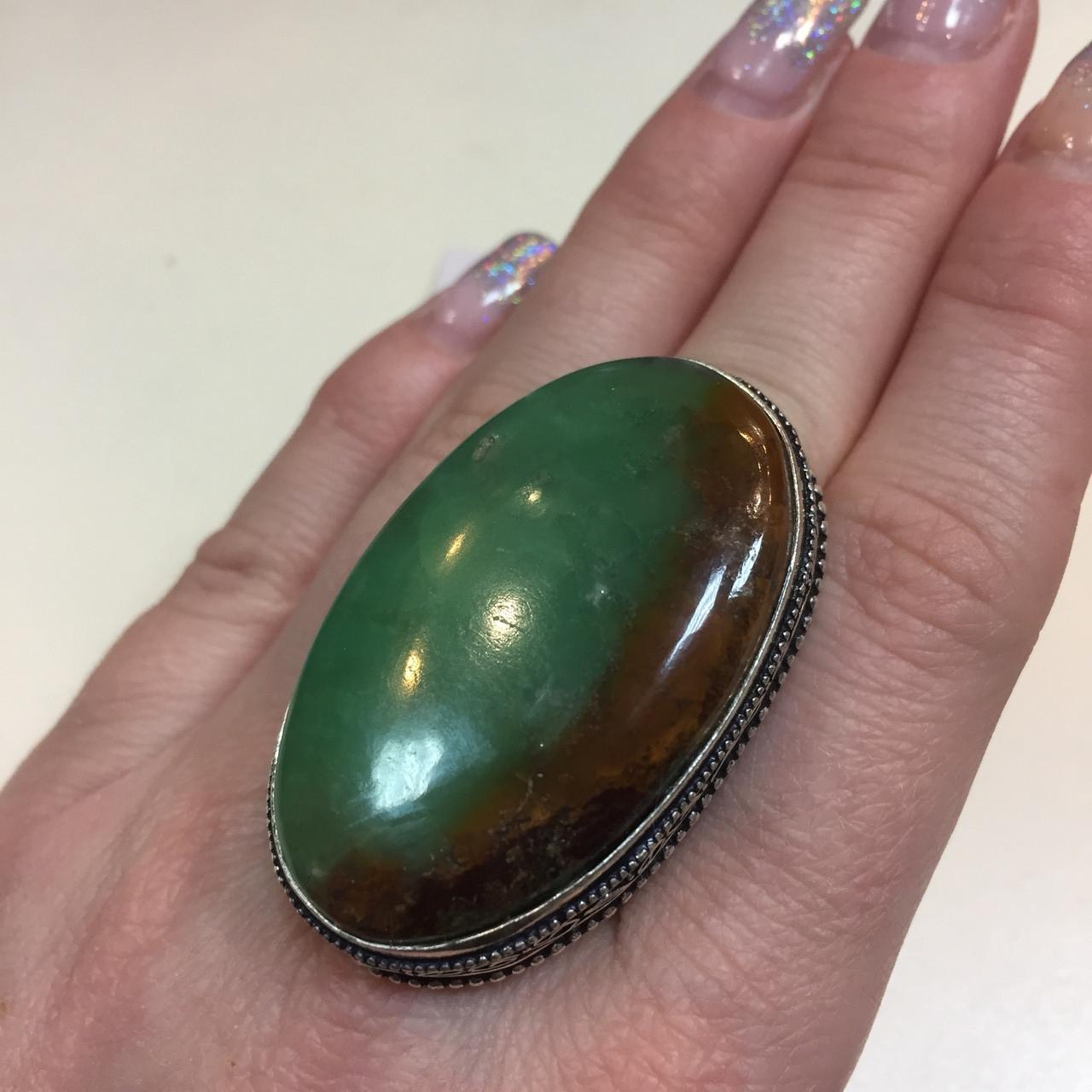 Крупное кольцо хризопраз в серебре, овальное кольцо с хризопразом 17,5-18 размер Индия!