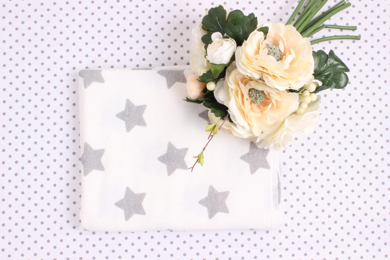 Фланелевая пеленка маленькие Серые звёзды