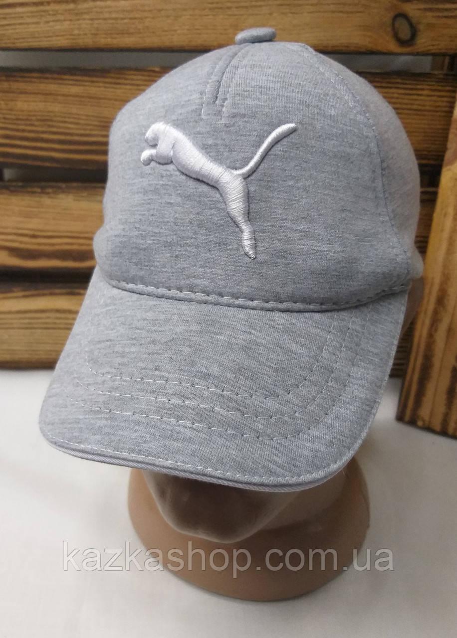 Мужская кепка в стиле Puma (реплика) серого цвета трикотаж сезон весна-лето большая вышивка с регулятором