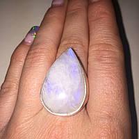 Кольцо капля лунный камень адуляр в серебре кольцо с лунным камнем 18,5-19 размер Индия, фото 1