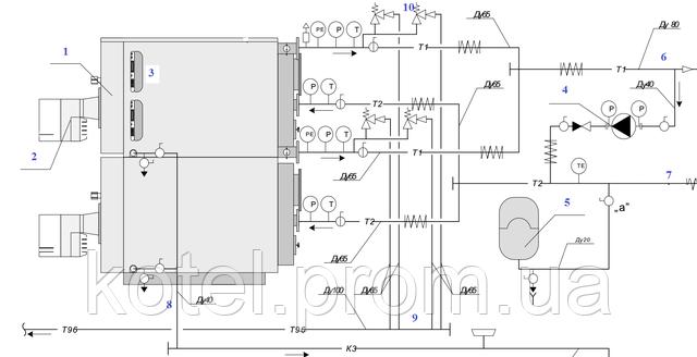 Гидравлическая схема обвязки вертикального газового термоблока Колви 400 Д