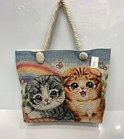 """Пляжная сумка 3022 """"Два котенка"""" женская на молнии текстильная ручки канаты 45 см * 33 см * 11 см"""