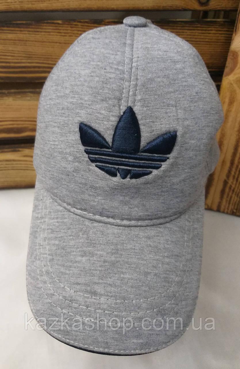 Мужская кепка в стиле Adidas (реплика) серого цвета трикотаж сезон весна-лето большая вышивка, на регуляторе