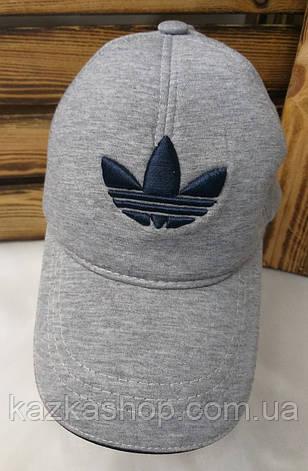 Мужская кепка в стиле Adidas (реплика) серого цвета трикотаж сезон весна-лето большая вышивка, на регуляторе, фото 2
