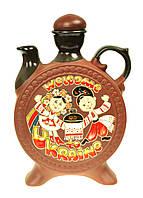 """Украинский графин-куманец из глины """"Welcome to Ukraine"""" 1л., национальные сувениры из керамики"""