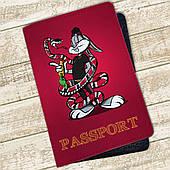 Кожаная обложка на паспорт Багз Банни (Bugs Bunny) (4074-1)