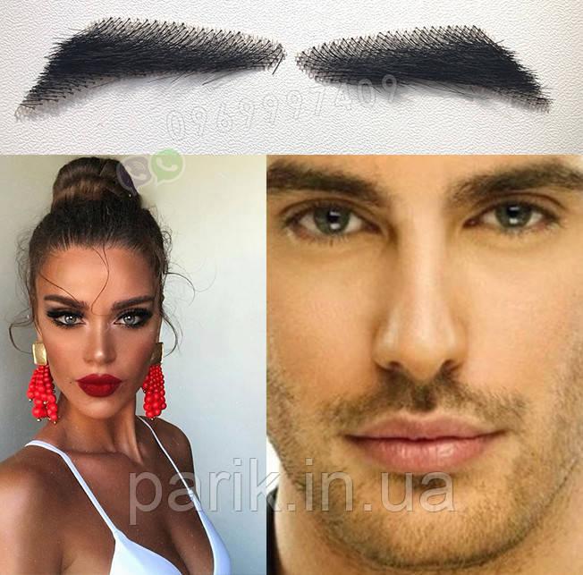 👀 Накладные брови, реалистичные из натуарльных волос, широкие черные