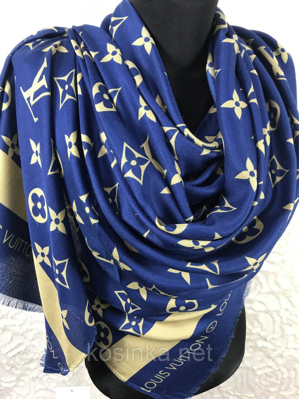 Синий брендовый палантин LOUIS VUTTON 170х60 см