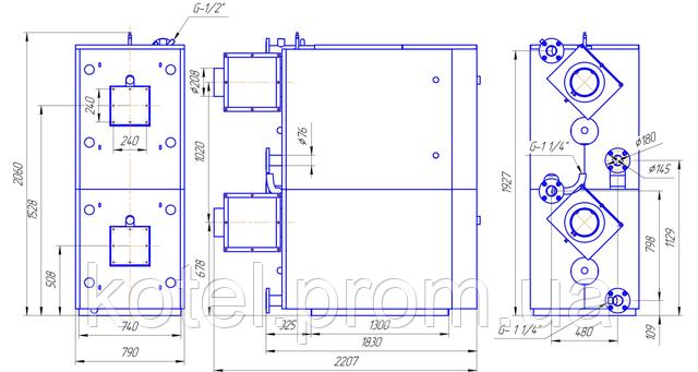 Размеры и изображение газового вертикального термоблока Колви 340 Д