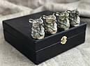"""Набор охотничьих чарок из бонзы """"Медведь"""" 4 штуки, в подарочном кейсе, фото 3"""