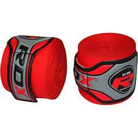 Бинты боксерские RDX Fibra Red 4.5m – хлопок + фибра. Красный