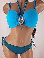 Купальник Ольга 3901 для большой груди и узких бедер голубой на 44 размер.