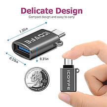 Адаптер переходник USB Type C на USB 3.0 iCovfe серый, фото 2