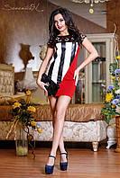 Модное летнее женское платье с кожаными вставками Красный, фото 1
