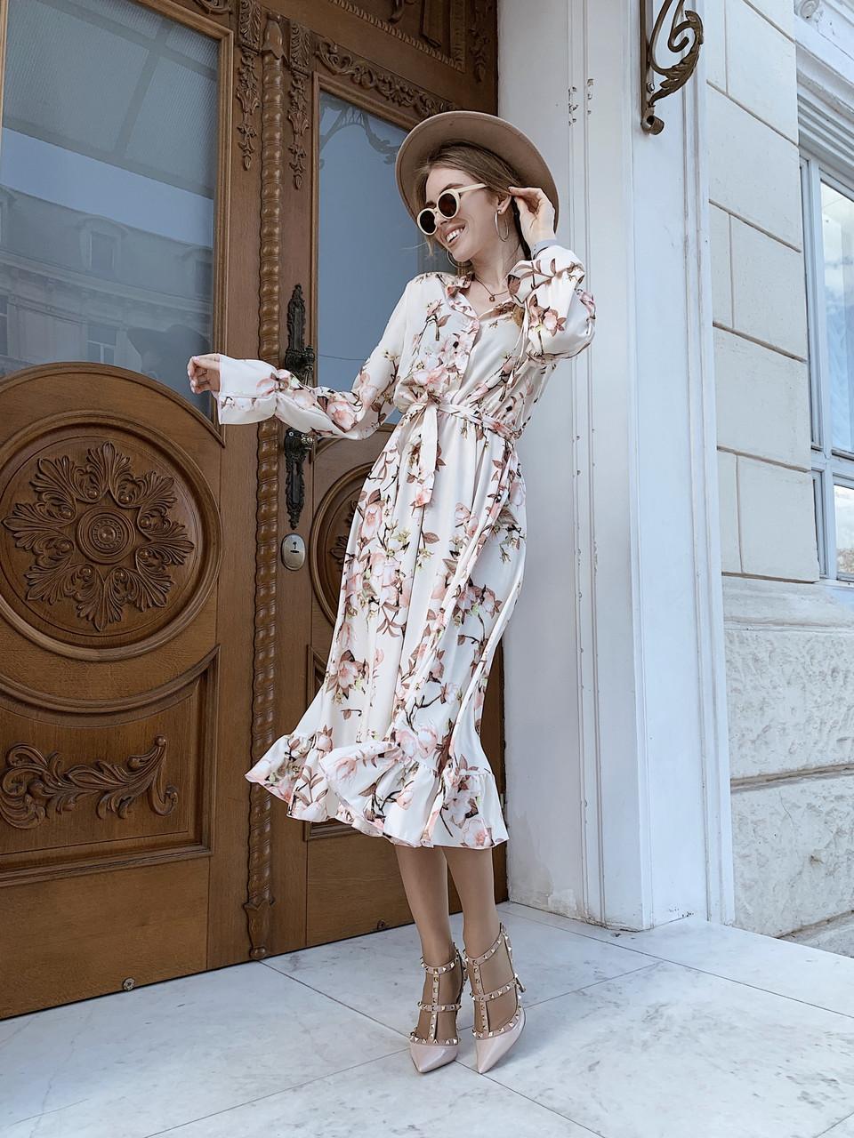 Шикарное нежное платье длины миди (с принтом)