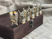 """Набор бронзовых чарок """"Царский улов"""" 6 штук, в кейсе из натурального дерева"""