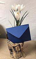 Подарочный конверт C6 из плотной крафт бумаги синий