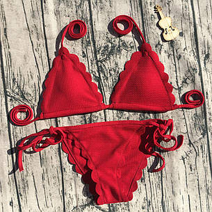 Купальник раздельный бикини, мягкая чашка  с вкладышем, бразилиана, красный-129-232, фото 2