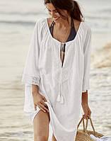 Пляжная туника-платье из хлопка белая