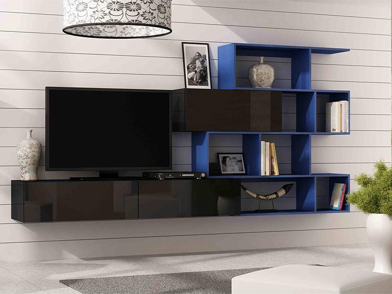 """Стенка в гостиную """"Виго 16 / Vigo 16"""" от Cama (черный / синий)."""