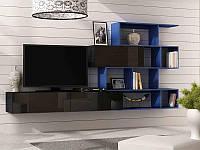"""Стенка в гостиную """"Виго 16 / Vigo 16"""" от Cama (черный / синий)., фото 1"""