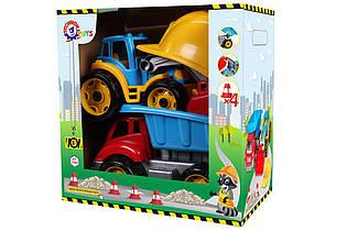 """Детская машинка-грузовик + трактор.Игровой набор """"Малыш-строитель."""