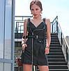 Женский кожаный сарафан с косой молнией, фото 4
