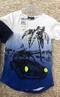 Летняя яркая футболка на мальчика с принтом машина рост 110 - 116, ТМ S&D CH-5025